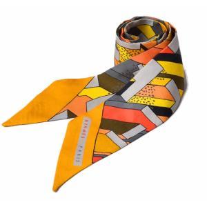 エルメス ツイリー スカーフ  HERMES シルクツイル オレンジ/イエロー