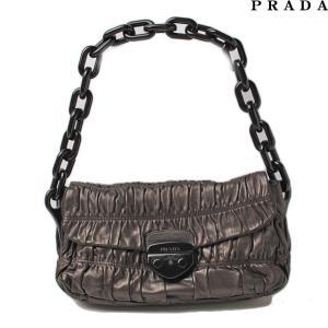 プラダ ショルダーバッグ PRADA ギャザー プラスチックチェーン メタリックブラウン GRAFITE MORD/ブラウン BR4050|brand-pit