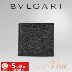 561243121945 ブルガリ 財布 二つ折り財布 メンズ BVLGARI 二つ折り財布(小銭入れ付) 20253 GRAIN BLK CLASSICO ラッピング無料  UE9031 セール