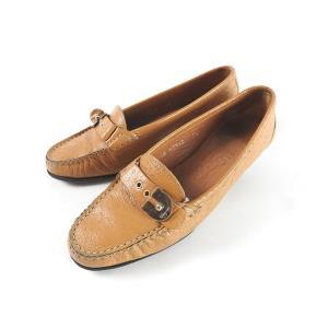 フェラガモ 靴 パンプス レザー キャメル ゴールド 5 1...