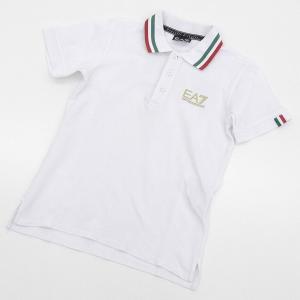 5f3b49cf1e2bb エンポリオアルマーニ EMPORIO ARMANI EA7 半袖 ポロシャツ イタリアプリント 白 ジュニア ボーイズ 12A A03418