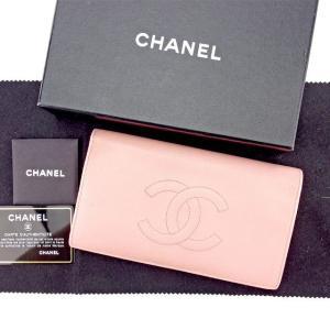 69dc47638a20 シャネル Chanel 財布 長財布 ココマーク ピンク ゴールド レディース 中古
