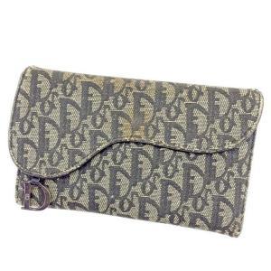 075055781554 ディオール Dior 財布 三つ折り財布 トロッター ネイビー系 レディース メンズ 中古