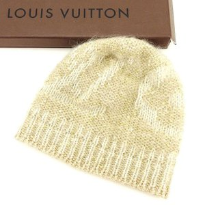 ルイヴィトン Louis Vuitton 帽子 スパンコール ベージュ レディース 未使用品 中古|branddepot-tokyo
