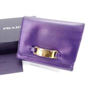 f10b18ce435d プラダ Prada 財布 三つ折り財布 ロゴプレート パープル ゴールド レディース 中古