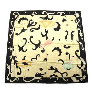 ブルガリ Bvlgari スカーフ ロゴ ファッション小物 アイボリー ブラック系 レディース 中古 branddepot-tokyo