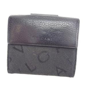 ブルガリ 二つ折り財布 Wホック財布 ロゴマニア BVLGARI 中古