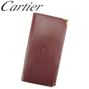 1e6eb40f8081 カルティエ Cartier 長財布 ファスナー付き 財布 レディース メンズ マストライン 中古 人気 セール C3290