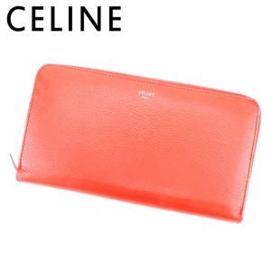 ccfabacb27ec セリーヌ Celine 財布 長財布 ロゴ オレンジ シルバー レディース 中古