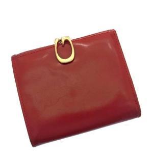 46336ee18f85 グッチ Gucci 財布 二つ折り財布 G金具 レッド ゴールドカラー レディース 中古