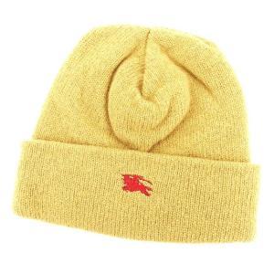 バーバリー Burberry 帽子 ニット帽 ホース刺繍 ベージュ レッド レディース メンズ 中古|branddepot-tokyo