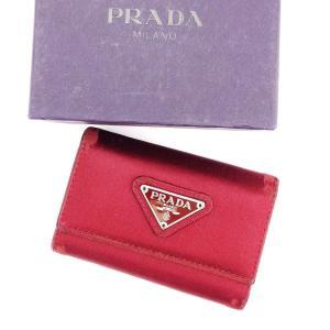 プラダ Prada キーケース 6連 レッド レディース メンズ 中古 Key Case|branddepot-tokyo