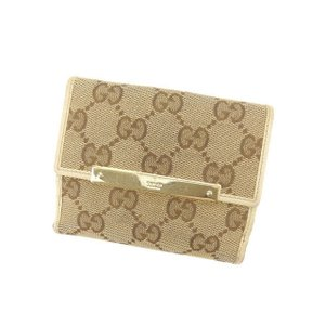 bb81e3198270 グッチ Gucci 財布 二つ折り財布 GGキャンバス ロゴプレート付き ベージュ ブラウン ホワイト系 レディース 中古