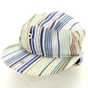 ヴィヴィアン ウエストウッド Vivienne Westwood 帽子 ストライプ オーブ刺繍 ホワイト ブルー系 レディース 中古|branddepot-tokyo