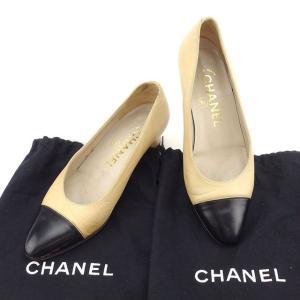 f11a9f0dfdc0 シャネル Chanel パンプス バイカラー 35 ベージュ ブラック レディース 中古 Pumps