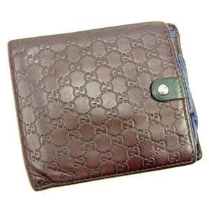 6ccbcb89a5e6 グッチ Gucci 財布 二つ折り財布 マイクログッチシマ ブラウン グリーン ブルー系 メンズ 中古