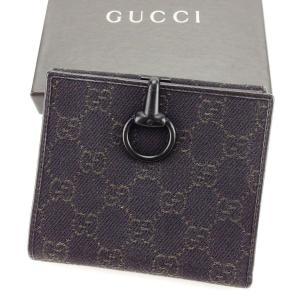 aee0cf787141 グッチ Gucci 財布 二つ折り財布 GGキャンバス ブラック系 レディース メンズ 中古