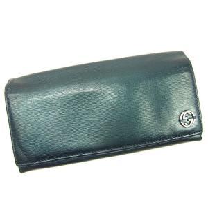 baff51592379 グッチ Gucci 財布 長財布 インターロッキング グリーン系 レディース メンズ 中古