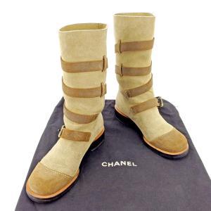 1de8e9d5a20b 管理番号:T5284 【商品説明】 シャネル【CHANEL】の 「36. お気に入り. シャネル Chanel ブーツ ベルトデザイン 36.5  ベージュ ブラウン ゴールド レディース 中古