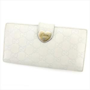 083adee2a004 グッチ Gucci 財布 長財布 グッチシマ ホワイト 白 ベージュ レディース 中古