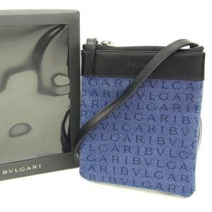 32d3652b3d6c ブルガリ Bvlgari バッグ ショルダーバッグ ロゴマニア ブラック デニム レディース メンズ 中古 Bag