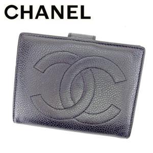 シャネル がま口 財布 二つ折り 財布 キャビアスキン×ココマーク CHANEL 中古