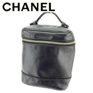 79ca403b0931 シャネル Chanel バニティ ポーチ ダブルステッチ ココマーク ブラック ゴールド レディース 中古