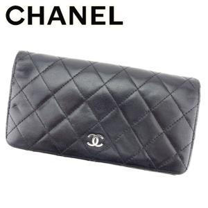 bf450156e2ee シャネル Chanel 財布 長財布 マトラッセ オールドシャネル ブラック シルバー レディース 中古
