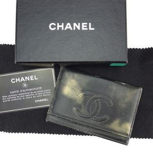 e22cab2d51ae シャネル Chanel カードケース ココマーク ブラック ゴールド レディース メンズ 中古