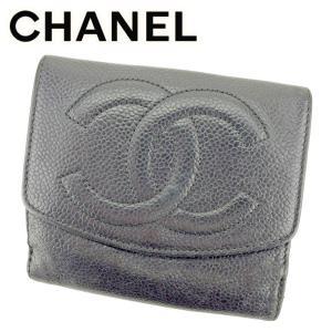 8647749d5ddf シャネル CHANEL Wホック財布 二つ折り 財布 レディース メンズ キャビアスキン×ココマーク 中古 ヴィンテージ 人気 T8894