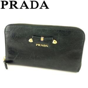 964bf4ccb706 プラダ PRADA 長財布 ラウンドファスナー 財布 レディース 1M0506 リボンモチーフ 中古