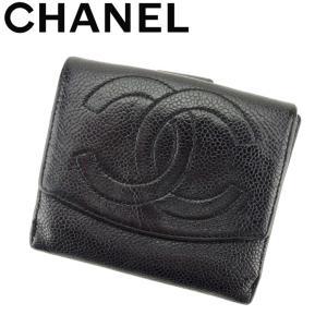e4c61b998a95 シャネル CHANEL Wホック財布 二つ折り 財布 レディース キャビアスキン×ココマーク 中古