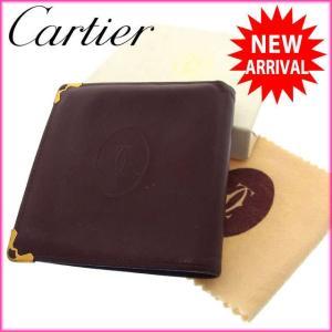 カルティエ Cartier 二つ折り財布 メンズ可 マストライン ロゴ ボルドー×ゴールド レザー 中古 A525|branddepot