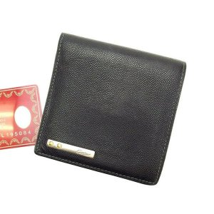 カルティエ Cartier 二つ折り財布 メンズ可 ブラック レザー 良品 人気 中古 A719|branddepot