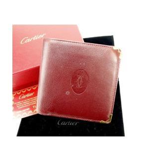 カルティエ Cartier 二つ折り財布 メンズ可 マストライン ボルドー レザー 激安 人気 中古 B656|branddepot