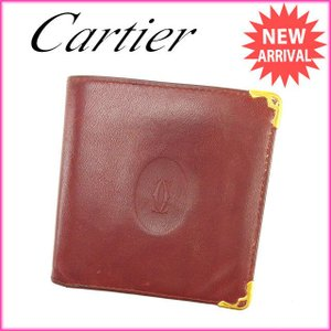 カルティエ Cartier 二つ折り財布 メンズ可 マストライン ボルドー レザー 激安 人気 中古 B736|branddepot