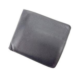 ブルガリ BVLGARI 二つ折り財布 メンズ可 ブラック レザー 激安 人気 中古 C1264|branddepot
