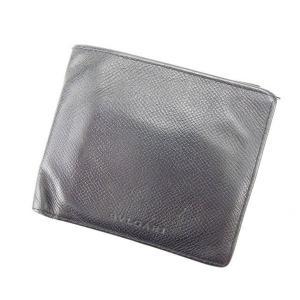 ブルガリ BVLGARI 二つ折り財布 メンズ可 ブラック レザー 激安 人気 中古 C1266|branddepot