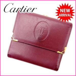 カルティエ Cartier がま口財布 メンズ可 マストライン ボルドー× レザー 激安 人気 中古 C1395|branddepot