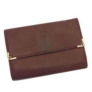 カルティエ Cartier 三つ折り財布 がま口 中長財布 メンズ可 角プレート付き マストライン ボルドー×ゴールド レザー 激安 人気 中古 C1581|branddepot