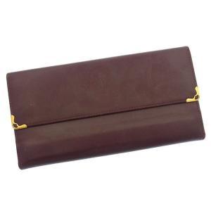 カルティエ Cartier 長財布 がま口 三つ折り メンズ可 角プレート付き マストライン ボルドー×ゴールド レザー 激安 人気 中古 C1626|branddepot