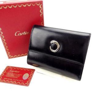 カルティエ Cartier 三つ折り財布 パンテール ブラック レザー 激安 人気 中古 C1657|branddepot