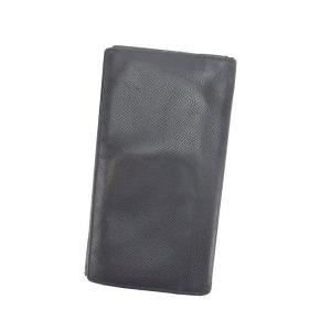 ブルガリ BVLGARI 長札入れ 二つ折り メンズ ロゴ ブラック レザー 激安 セール 中古 C1899|branddepot