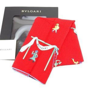 ブルガリ BVLGARI スカーフ 大判サイズ ファッションアイテム メンズ可 サーカス柄 レッド×ブルー系 SILK 100% 未使用 セール 中古 D1388|branddepot