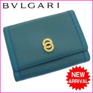 ブルガリ BVLGARI 三つ折り財布 メンズ可 ドッピオトンド ターコイズ×ゴールド レザー 中古 D648|branddepot