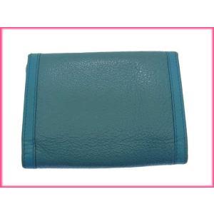ブルガリ BVLGARI 三つ折り財布 メンズ可 ドッピオトンド ターコイズ×ゴールド レザー 中古 D648|branddepot|02