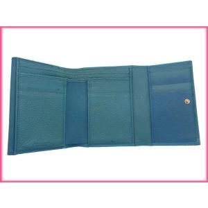 ブルガリ BVLGARI 三つ折り財布 メンズ可 ドッピオトンド ターコイズ×ゴールド レザー 中古 D648|branddepot|03