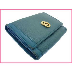ブルガリ BVLGARI 三つ折り財布 メンズ可 ドッピオトンド ターコイズ×ゴールド レザー 中古 D648|branddepot|06
