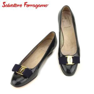 ポイント5倍 サルヴァトーレ フェラガモ Salvatore Ferragamo パンプス シューズ 靴 レディース ♯5C ラウンドトゥ ヴァラリボン 中古|branddepot