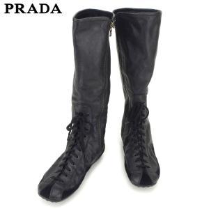 4e0ed57b68cf プラダ PRADA ブーツ シューズ 靴 レディース ♯36 CAR SHOE ロング レースアップ 中古